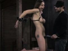 Breastbondage sub toyed and...
