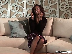 Sexy ebony slut gets her...